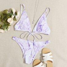 Bikini Badeanzug mit Batik und Band hinten