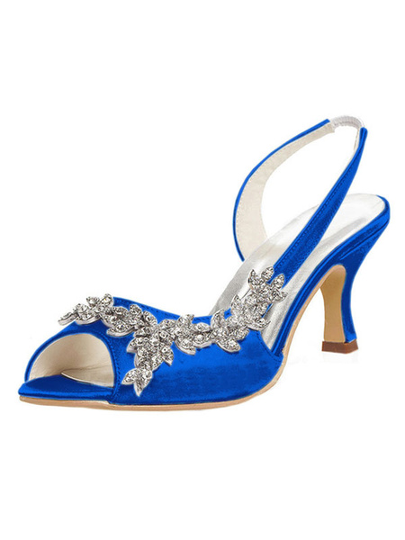 Milanoo Mother Of The Bride Shoes Purple Peep Toe Rhinestones Slingbacks Wedding Shoes Kitten Heel Bridal Shoes