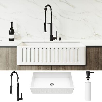 VG15783 All-In-One 36 Matte Stone Farmhouse Apron Kitchen Sink Set With Laurelton Faucet In Matte Black  Strainer And Soap