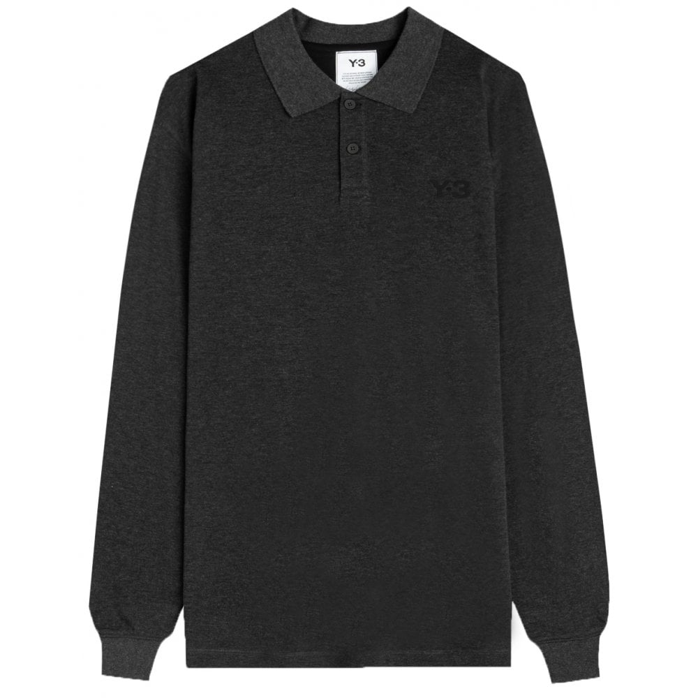 Y-3 Ls Polo Colour: GREY, Size: EXTRA LARGE