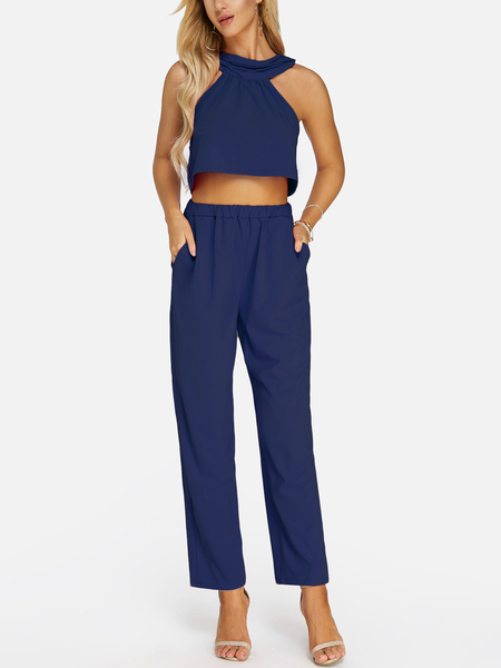 Yoins Dark Blue Sleeveless High Waist Halter Co-ord