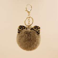 Leopard Bow Furball Keychain