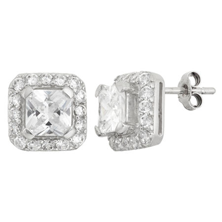 DiamonArt 4 CT. T.W. White Cubic Zirconia Sterling Silver 10mm Square Stud Earrings, One Size , No Color Family