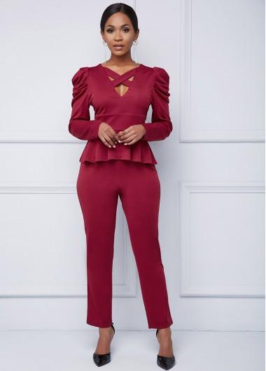 Cross Strap Puff Sleeve Peplum Waist Jumpsuit - XL