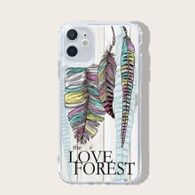 Feather & Letter Graphic iPhone Case