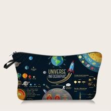 1pc Planet Print Makeup Bag