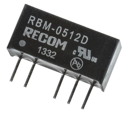 Recom RBM 1W Isolated DC-DC Converter Through Hole, Voltage in 4.5 → 5.5 V dc, Voltage out ±12V dc