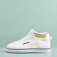 Strick Slip On Sneakers mit Streifen Grafik