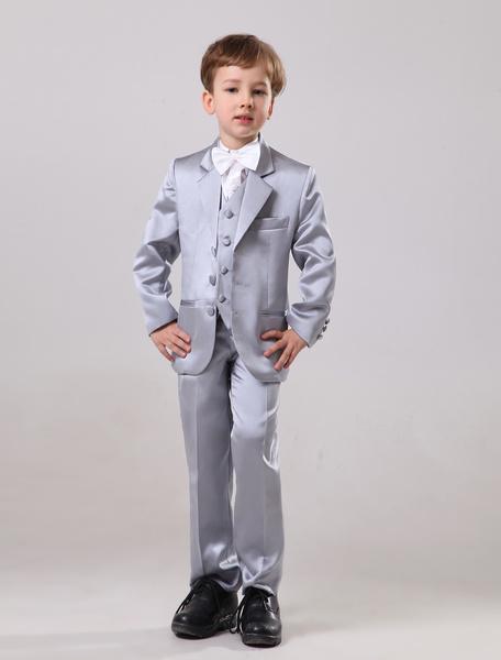 Milanoo Elegant Silver Satin Wedding Ring Bearer Suits