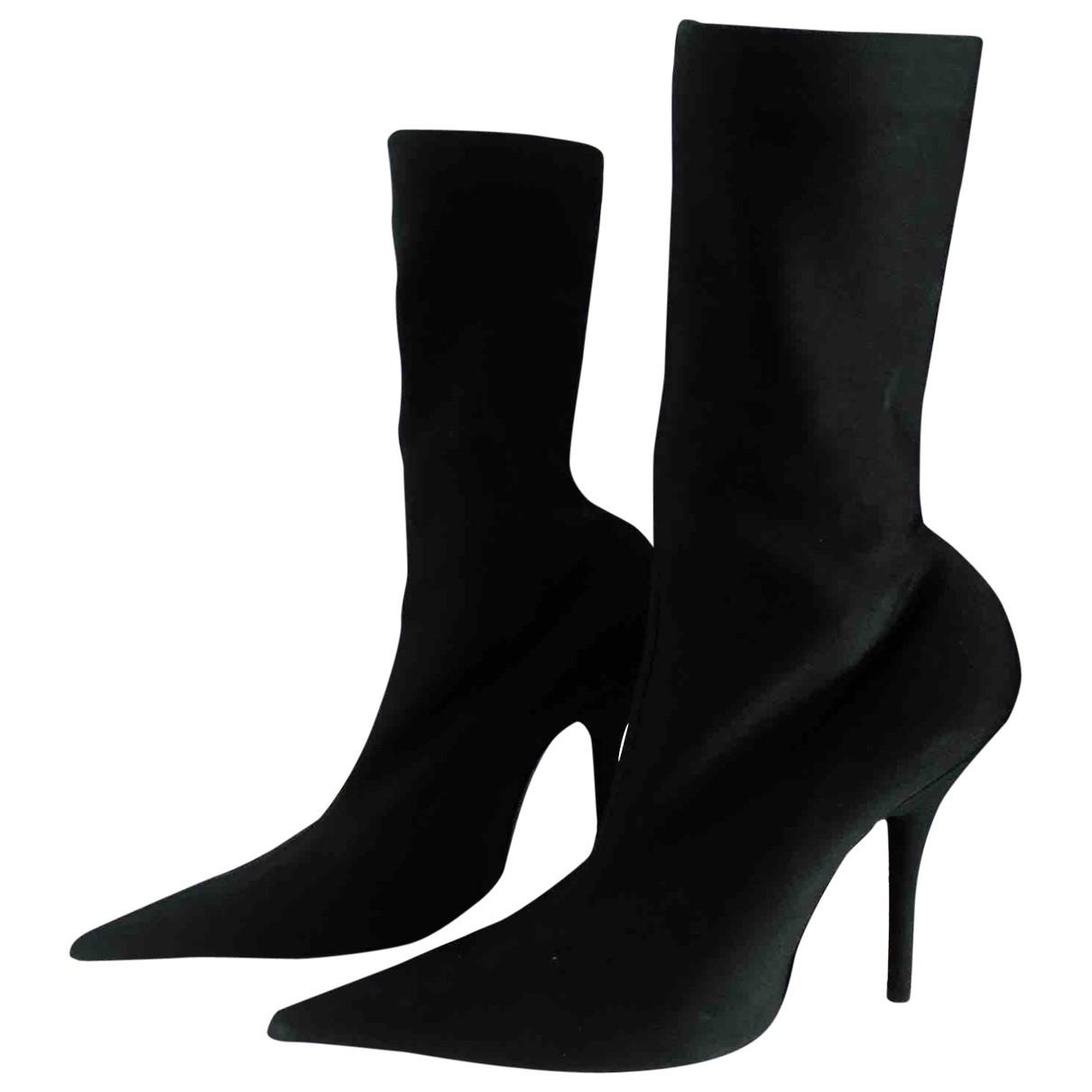 Balenciaga Knife Black Cloth Boots for Women 38 EU
