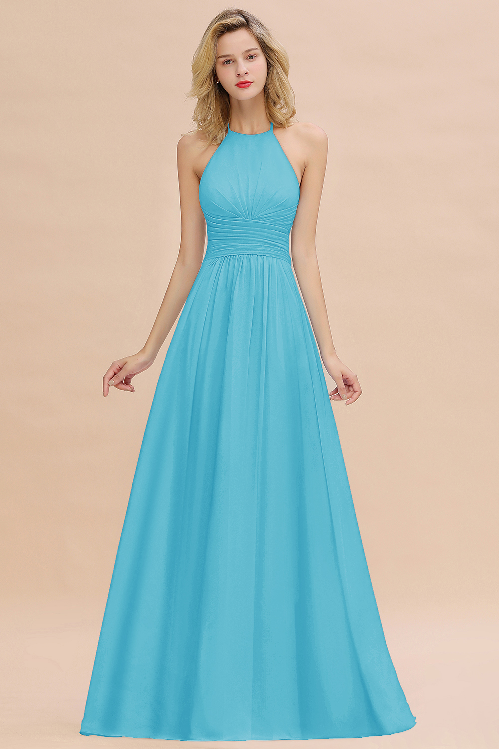 BMbridal Glamorous Halter Backless Long Affordable Bridesmaid Dresses with Ruffle