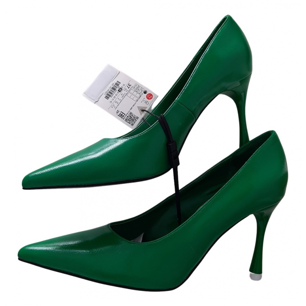 Zara N Green Patent leather Heels for Women 37 EU