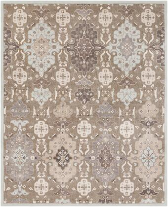 Castille CTL-2006 8' x 10' Rectangle Traditional Rug in Taupe  Ice Blue  Charcoal  Medium