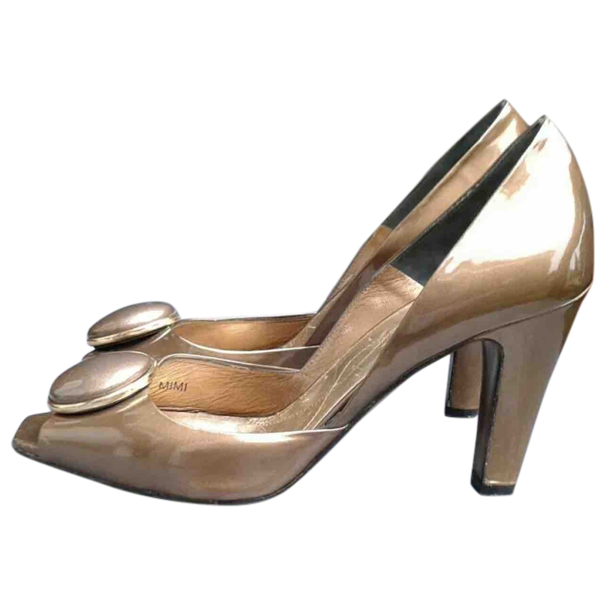 Reiss \N Gold Patent leather Heels for Women 7 UK