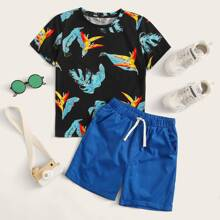 Boys Tropical Print Top and Rolled Hem Shorts Set