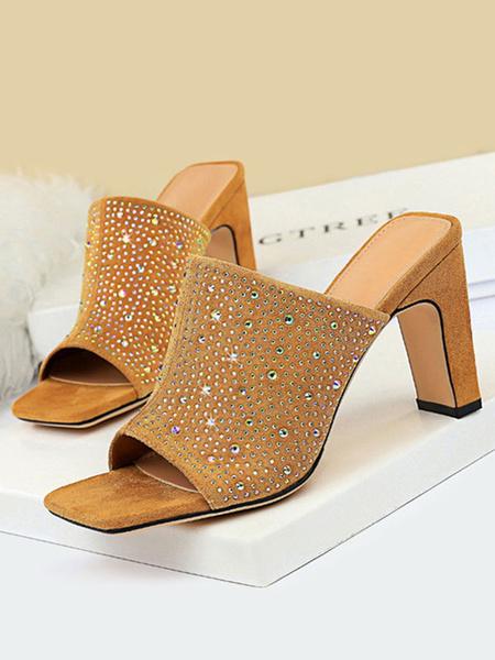 Milanoo Chinelas de mujer% 26 Zuecos Suede Upper Black Open Toe Chunky Heel Shoes