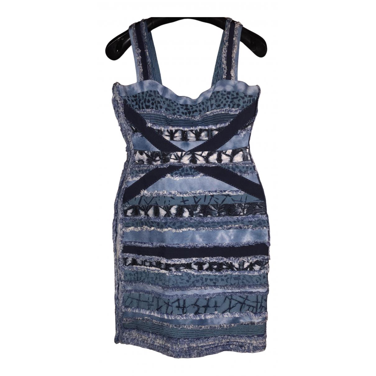 Herve Leger \N Kleid in  Blau Viskose