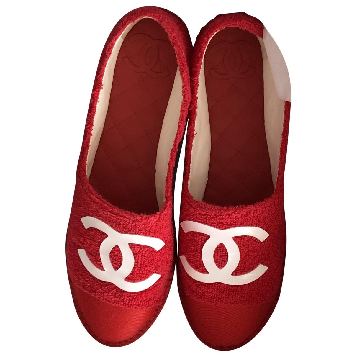 Chanel - Espadrilles   pour femme en toile - rouge