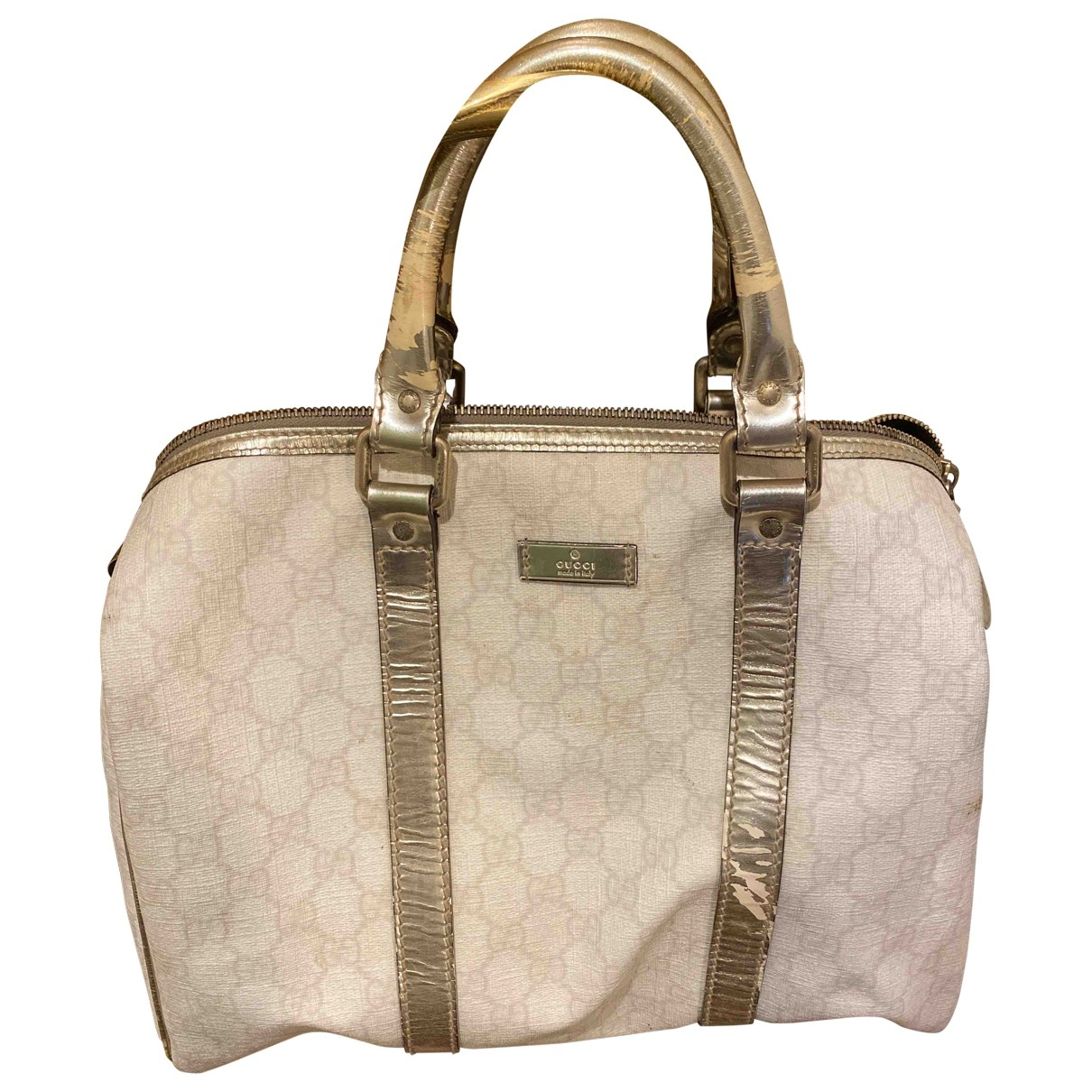 Gucci Boston Handtasche in  Weiss Leinen