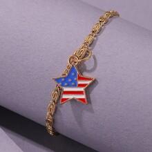Flag Pattern Star Charm Bracelet