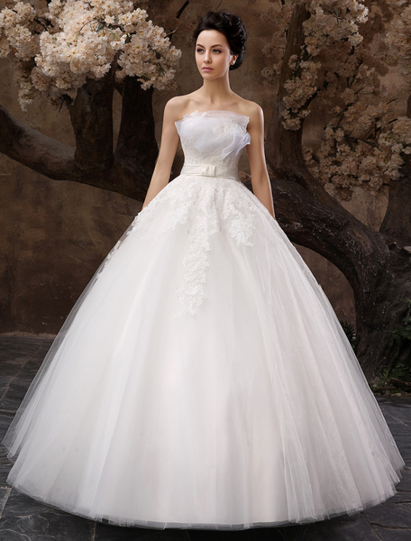 Milanoo Vestido de novia de tul blanco sin tirantes