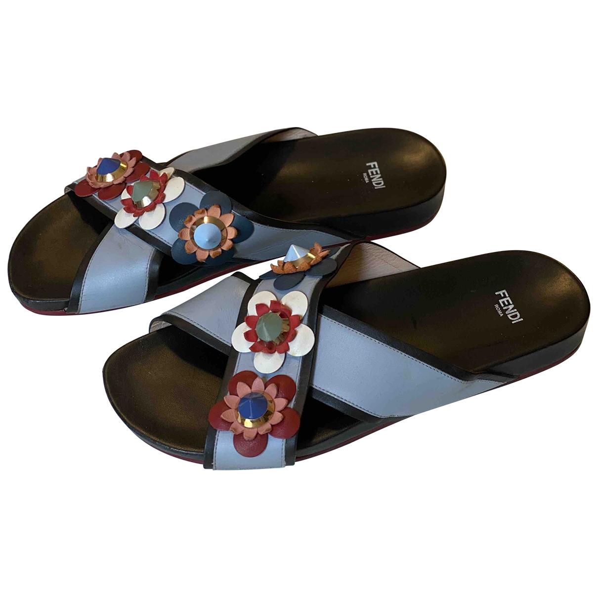 Fendi - Sandales   pour femme en cuir - bleu
