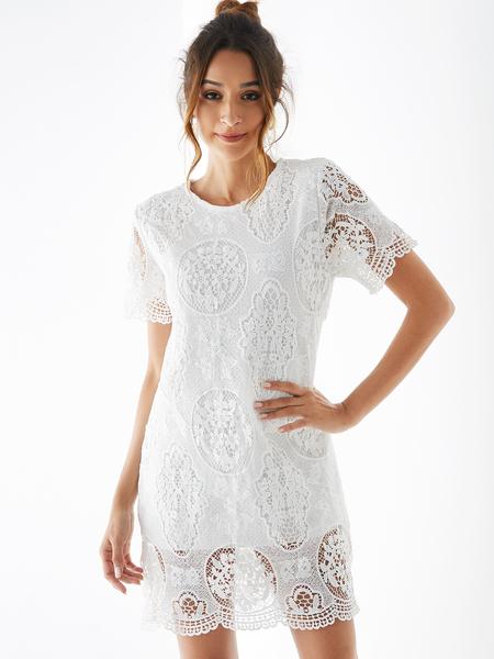 Yoins White Crochet Lace Embellished Button Keyhole Design Dress