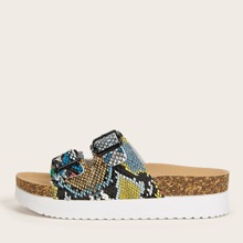 Buckle Decor Snakeskin Slide Sandals