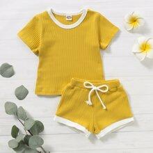 Toddler Girls Contrast Binding Rib-knit Tee & Drawstring Shorts