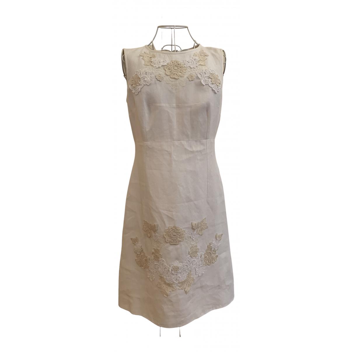 Dolce & Gabbana - Robe   pour femme en lin - blanc