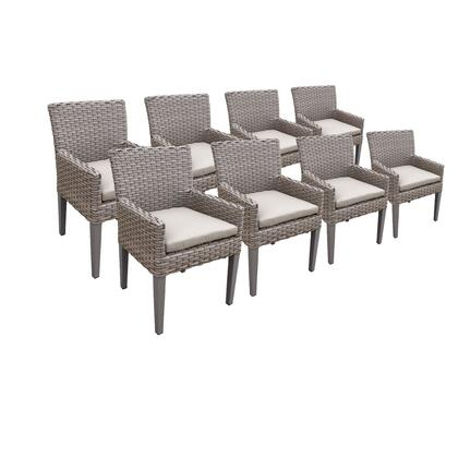 TKC297b-DC-4x-C-BEIGE 8 Oasis Dining Chairs With Arms with 2 Covers: Grey and