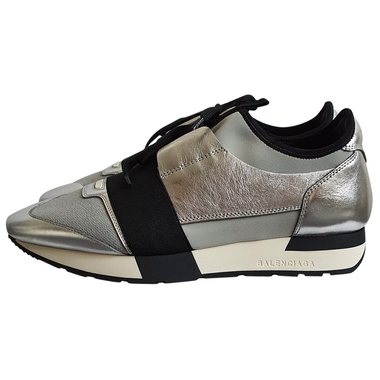 Balenciaga Race Sneakers in  Silber Leder
