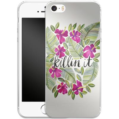 Apple iPhone SE Silikon Handyhuelle - Killin It Pink von Cat Coquillette