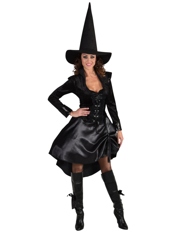 Damen-Kostuem Kleid Hexe Damen mit Schnuerung schwarz L Grosse: L