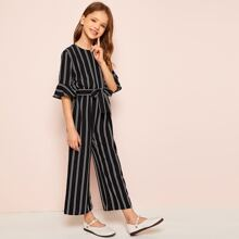 Girls Flounce Sleeve Self Belted Striped Jumpsuit