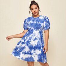 Plus Twist Puff Sleeve Tie Dye Dress