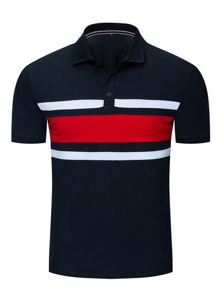 Milanoo Men\'s Polo Shirt Stripes Turndown Collar Short Sleeves Regular Fit Dark Navy Fashionable Polo Shirts