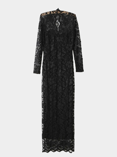Yoins Black Lace Maxi Fishtail Dress