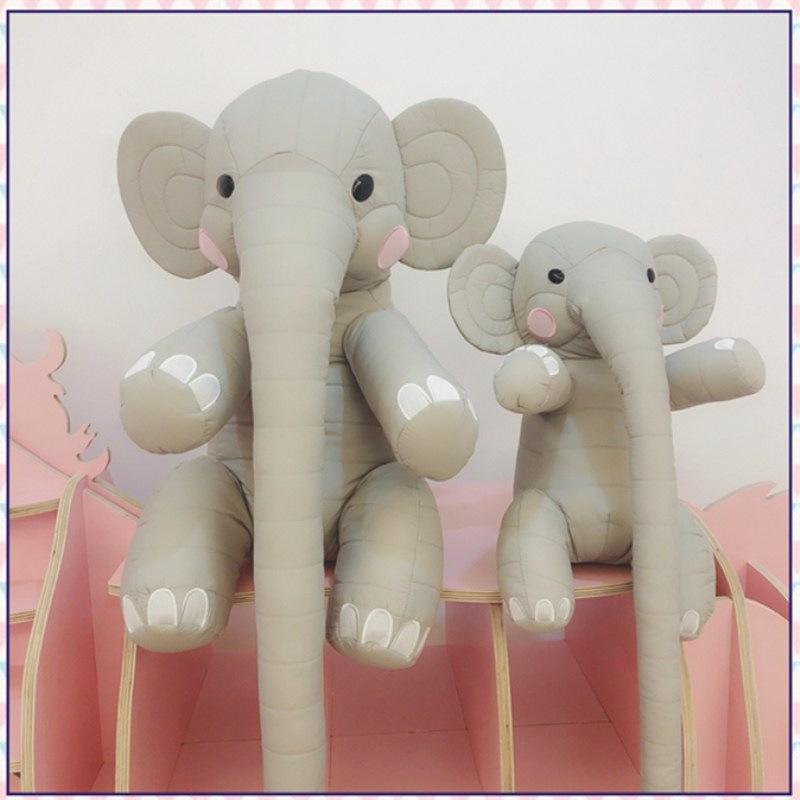 Gray Parent-child Elephant Shaped Cartoon Style Cloth Throw Pillow