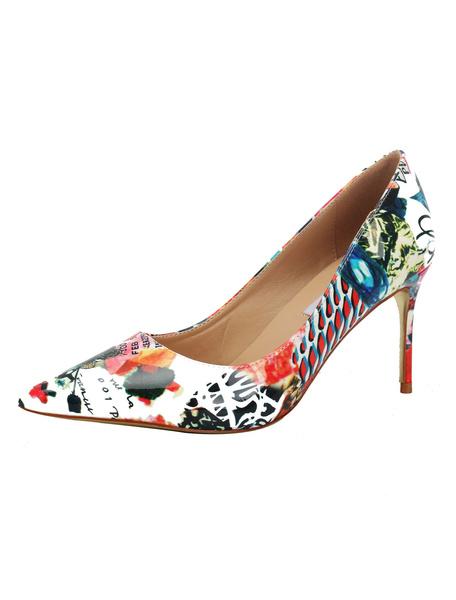 Milanoo White High Heels Women Pointed Toe Printed Stiletto Heel Pumps Dress Shoes