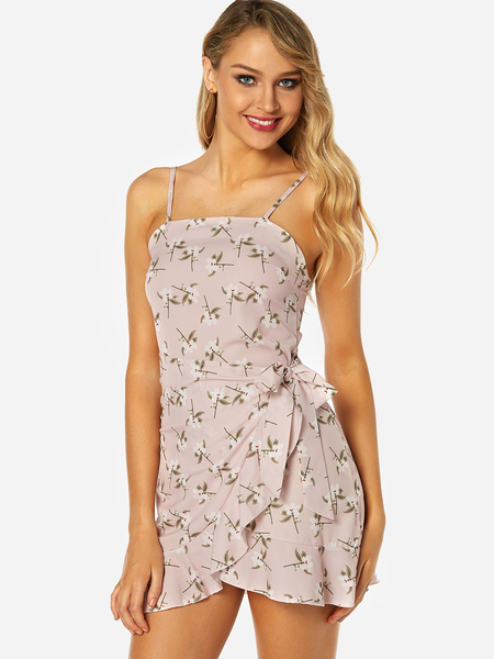 Yoins Light Pink Random Calico Print Self-tie Design Backless Sleeveless Spaghetti Strap Dress