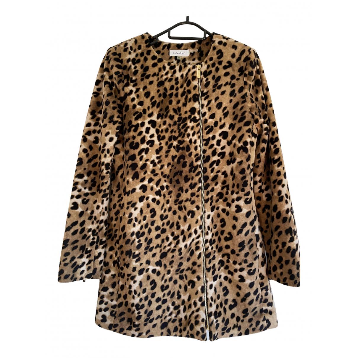 Calvin Klein - Manteau   pour femme en fourrure synthetique - marron