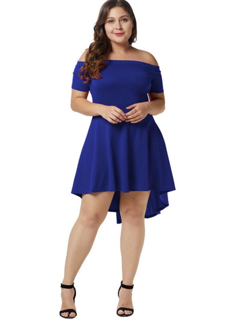 Ericdress Plus Size Off Shoulder Knee-Length Plain Pullover Dress