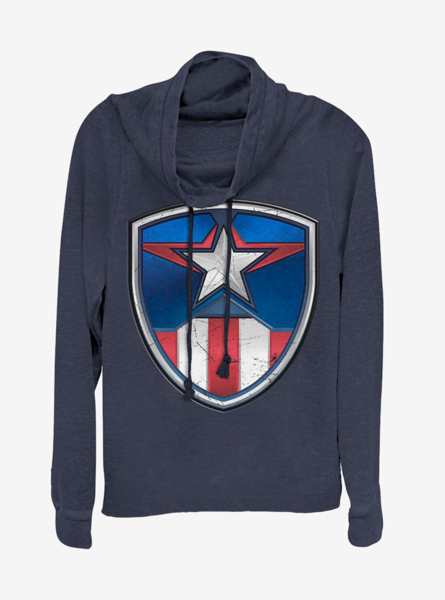 Marvel Captain America Classic Shield Crest Cowlneck Long-Sleeve Womens Top