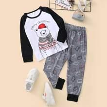 Camiseta de manga raglan con estampado de Navidad con pantalones deportivos