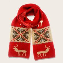 Strick Schal mit Weihnachten Hirsch Muster