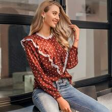 Contrast Lace Ruffle Button Front Polka Dot Blouse