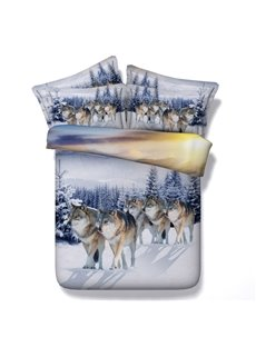 Snow Wolf Printed Cotton 4-Piece 3D Bedding Sets/Duvet Covers