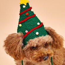 1 Stueck Hut mit Weihnachtsbaum Muster fuer Hunde