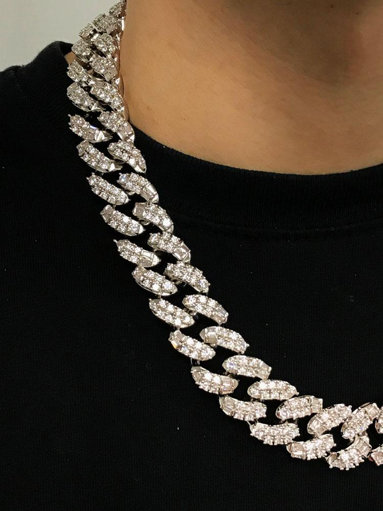 Ice Medley Cuban Bling Bling Chain 20MM White / Yellow Gold